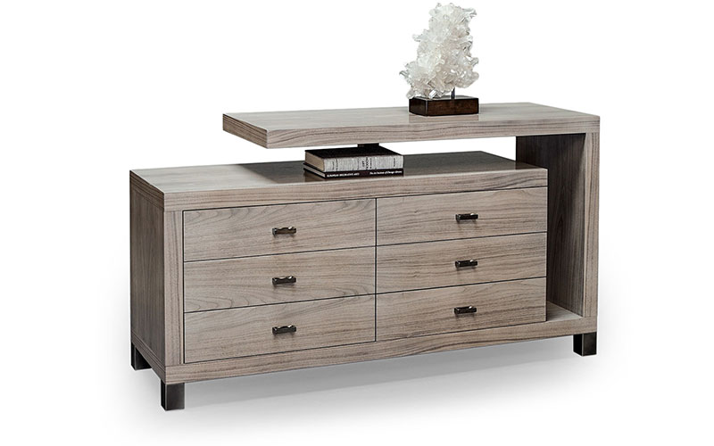 cantilever six drawer dresser